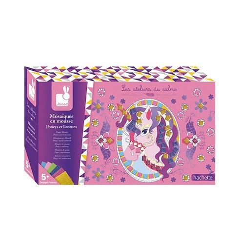 Janod Atelier - Mosaic foam pony''s en eenhoorns