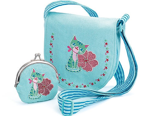 Bag & purse - Cat embroidered bag and purse