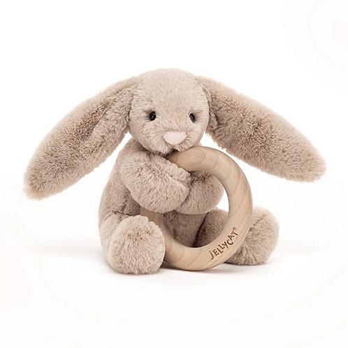 Jellycat Bashful Beige Bunny Wooden Ring Toy