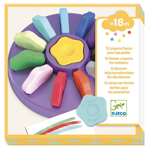 Djeco - CRAYONS - 12 flower crayons for toddlers