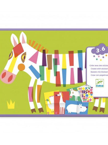 DJECO - CREATE WITH STICKERS - Large animals