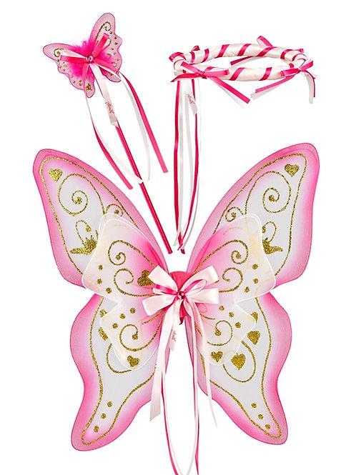 Souza - Elfenset Alissa, vleugels+toverstaf+halo, fuchsia/lichtroze