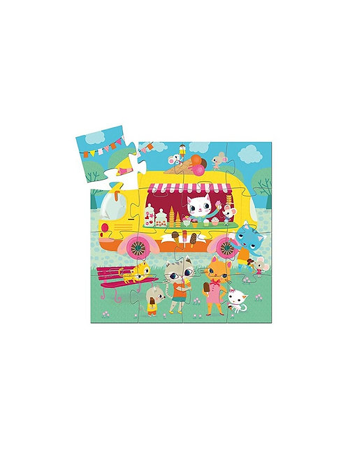 Djeco - SILHOUETTE PUZZLE - Ice cream truck 16 pcs
