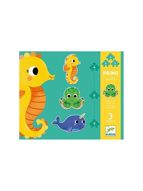Djeco - PROGRESSIVE PUZZLE - Primo In the sea 4,6,9 pcs