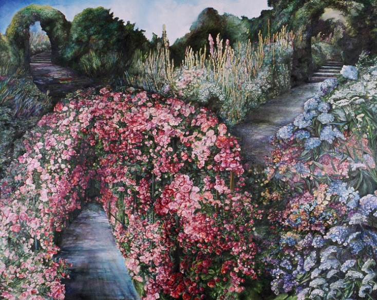 Garden Walk with Roses & Hydrangas