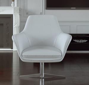 Mid Century Swivel Leather Chair