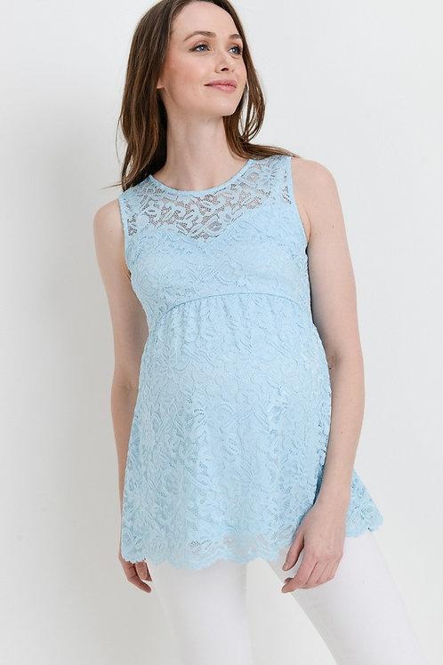 Sleeveless Lace Maternity Top