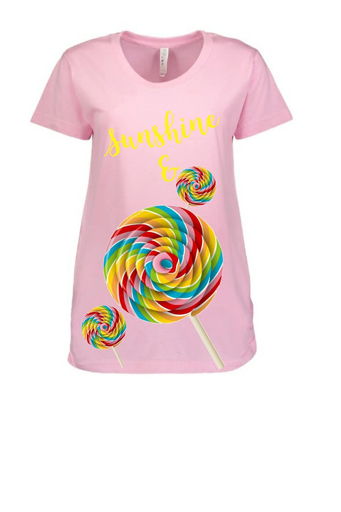 Sunshine & Lollipops Light Pink Scoop Neck Maternity Graphic Tee