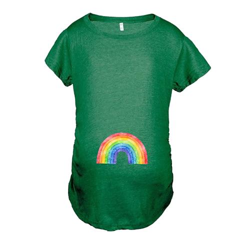 Rainbow Heather Green Maternity Graphic Tee