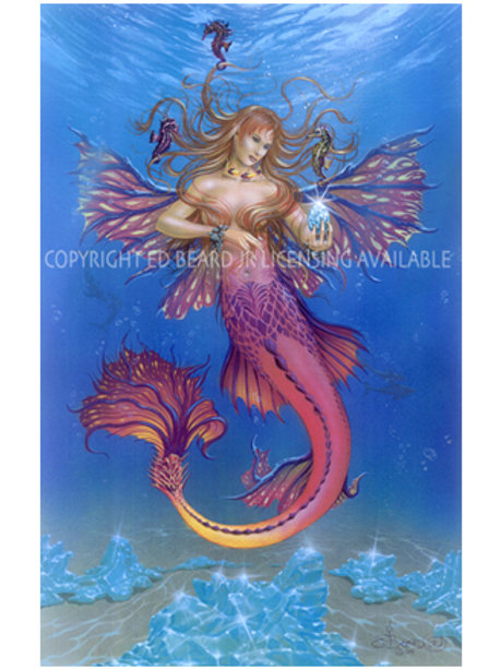 "Aquamarine Mermaid Fairy, Water Elemental Artist Proof- 16"" x 22"""
