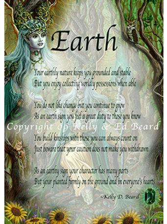 Earth Fairy Elemental Zodiac Poem Print