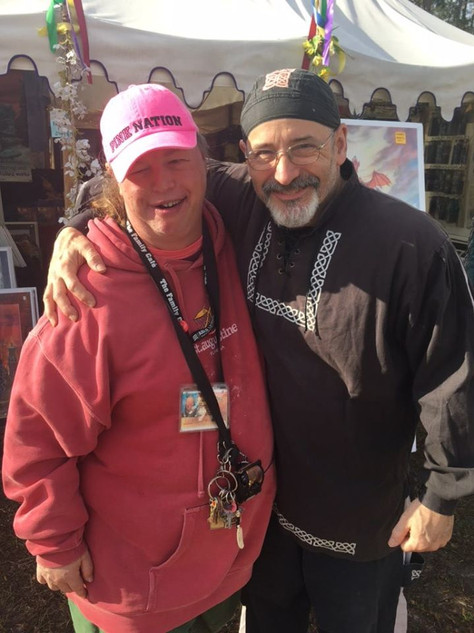 Ed with David (always a happy place) at the Hoggetowne Medieval Faire