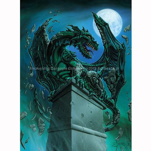 Awakening Dragon Gargoyle Signed Poster