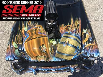 Airbrush art by Ed Beard Jr, 55 Moonshine runner SEMA 2019. Airbrush automotive, airbrush artist, auto airbrush artist, Sema car show, fyi drive, 55 chevy, custom art 55 chevy, cool airbrush designs