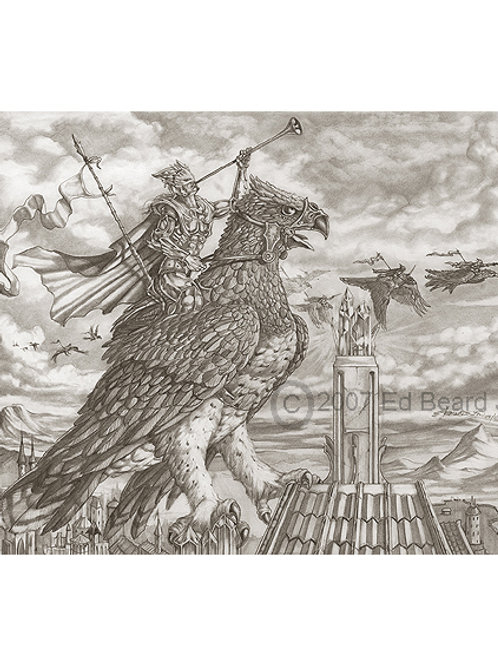 Trumpeting Sentinel Black and White Artist Proof