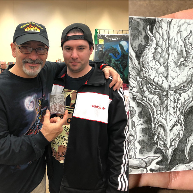 Steel City Comic Con with an original drawing on the back of an MTG proof card