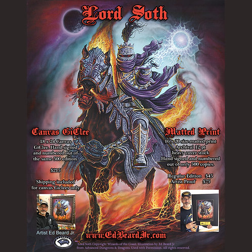 Lord Soth Giclee Gallery Wrap or Standard Stretch