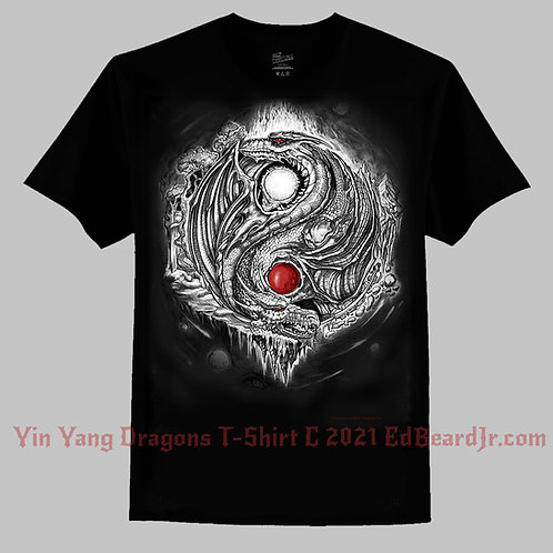 Yin Yang Dragons T-Shirt BW and Red Accent