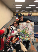 Ed with the winner of Steel City Comic Con Artist Charity Sketch done with Crayola Crayon and Marker, December 2019
