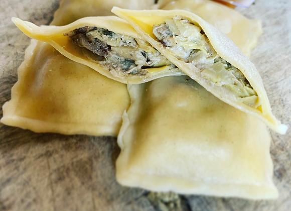 Raviolis cèpes , sauce cèpes