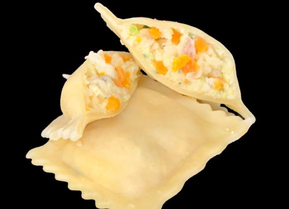Raviolis lotte et sa sauce safranée
