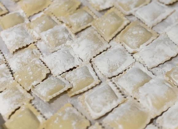 Raviolis cuisses de grenouilles, beurre blanc persillé (pour 2 personnes)