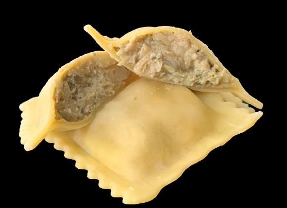 Raviolis artichauts et sa sauce crème basilic