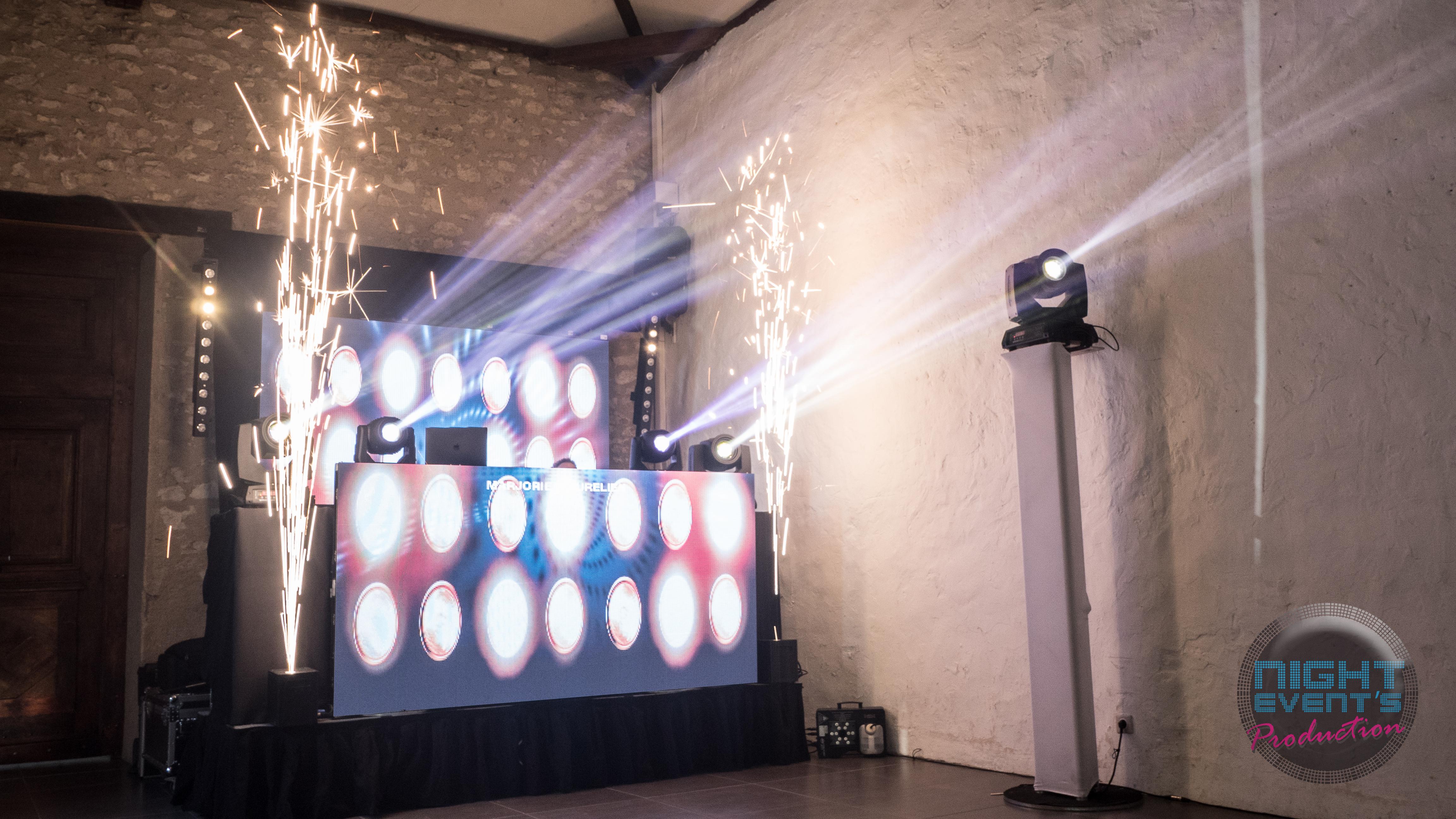 Mur de LED + Canon à étincelles froi