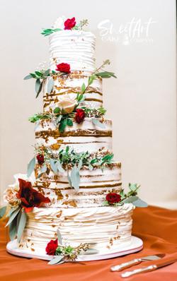 Naked Floral Wedding Cake