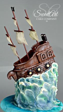Pirate Ship Cake Buttercream Waves