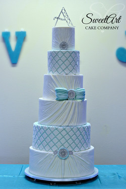 Ruched and Two Tone Quilted Wedding Cake