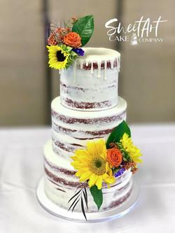 Naked Red Velvet Wedding Cake with Fresh Florals