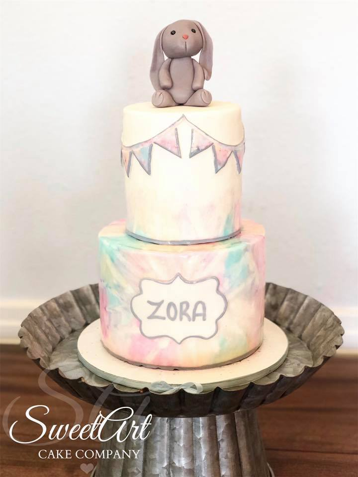 Pastel Tie Dye Baby Shower Cake