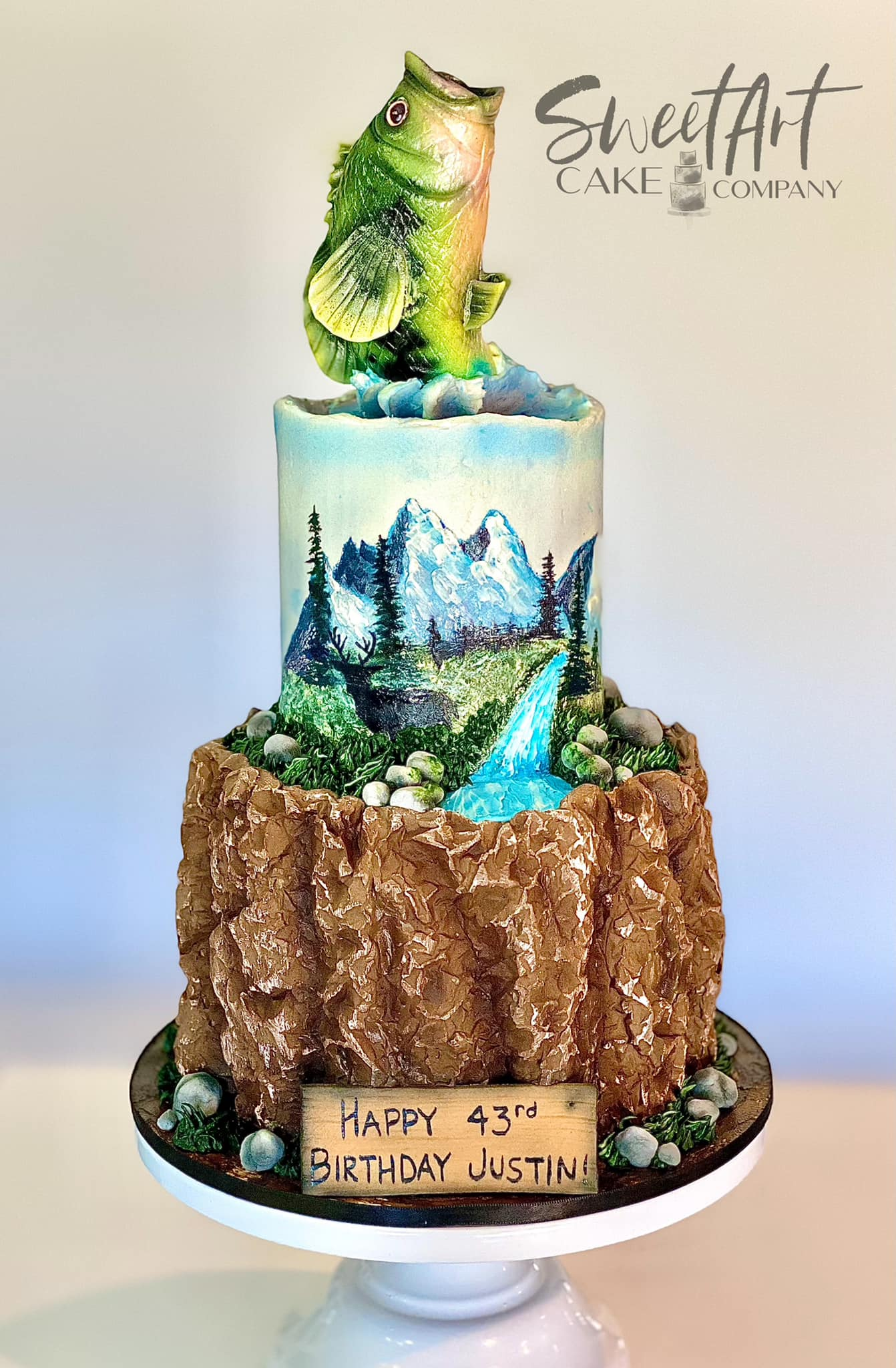 Hunting and Fishing Outdoors Cake