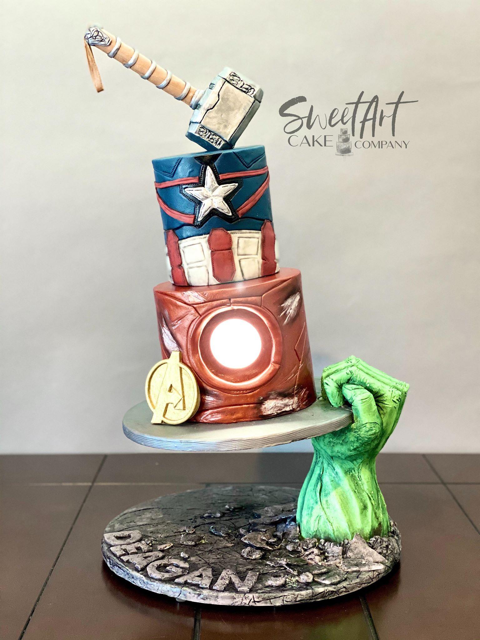 Gravity Defying Avengers Cake