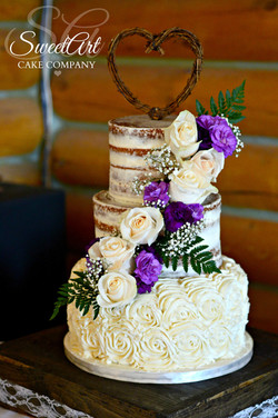 Rustic Half Naked Wedding Cake
