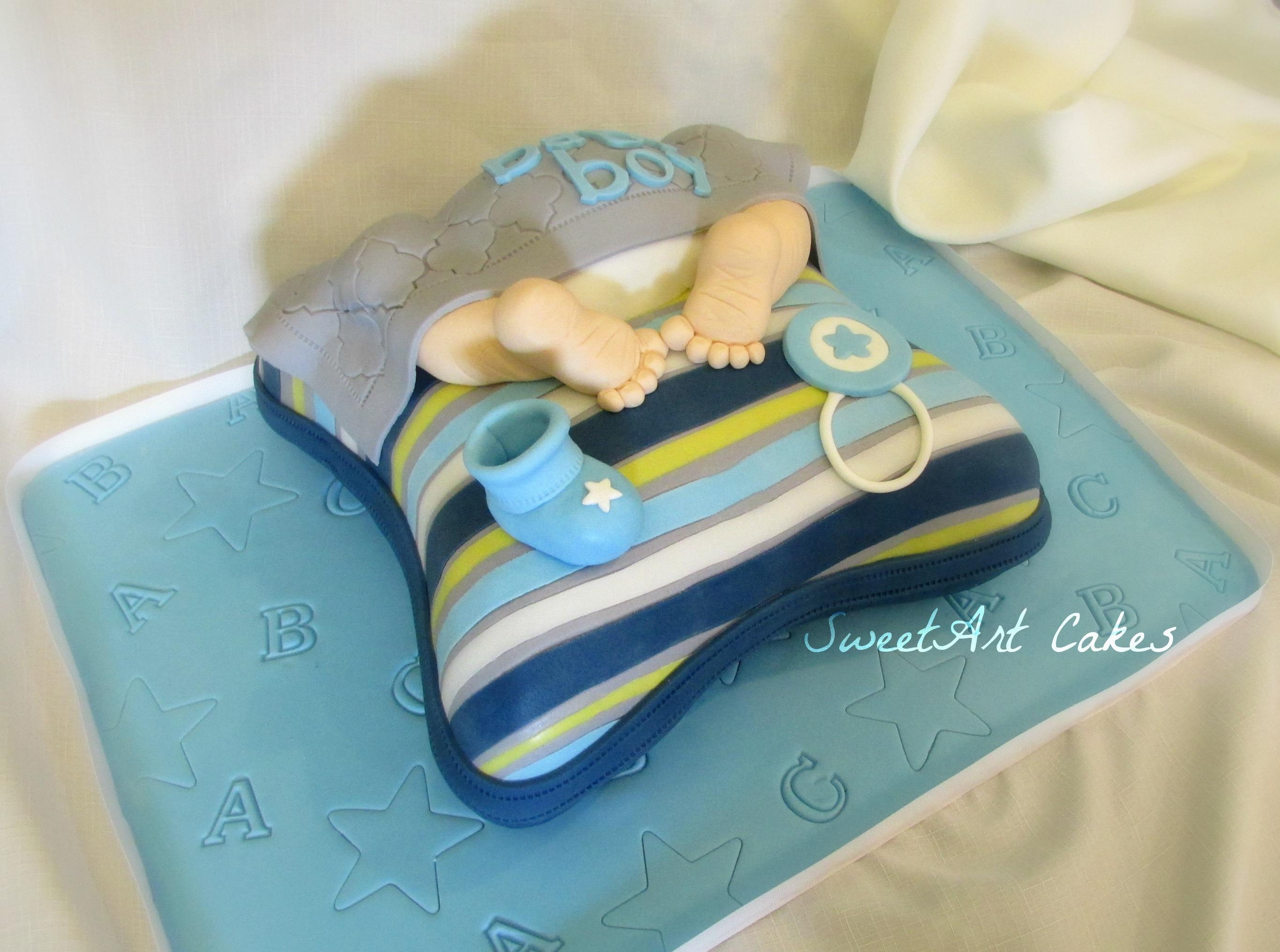 Baby Bum on Pillow Baby Shower Cake