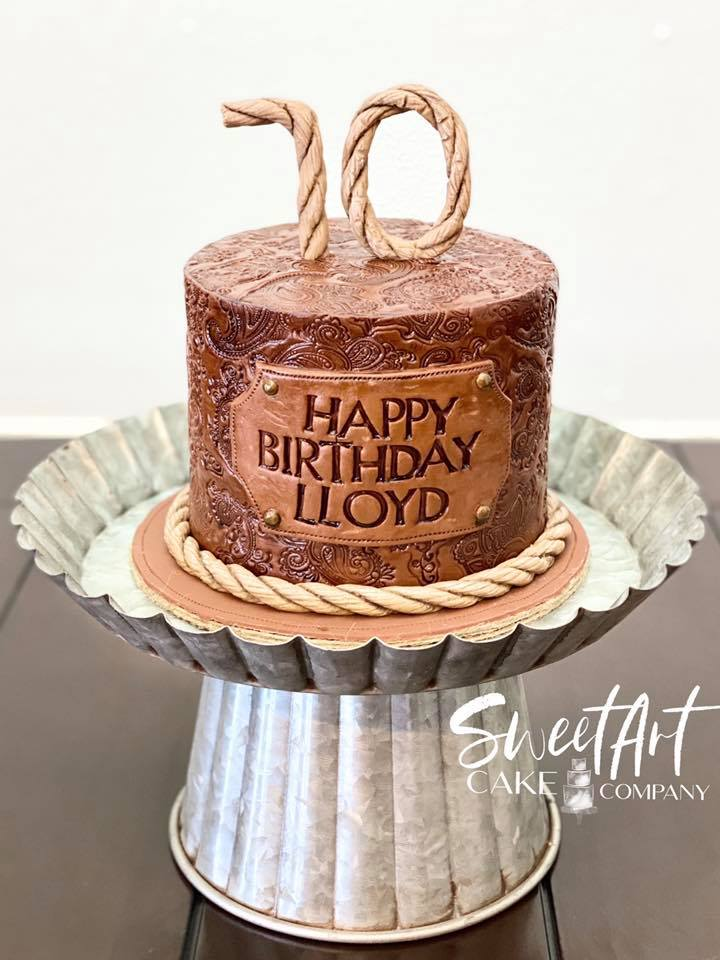 Western Tooled Leather Cake