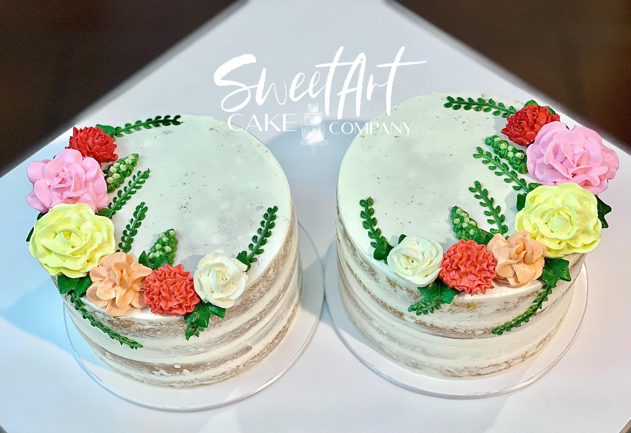 Twin Girl Floral Baby Shower Cakes
