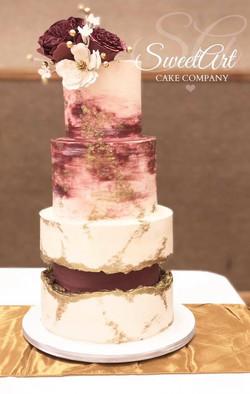 Burgundy Fault Line Wedding Cake