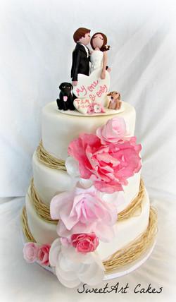 Pink Rustic Wedding Cake
