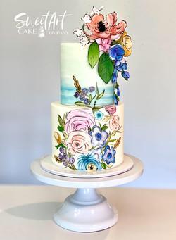 Watercolor Floral Cake