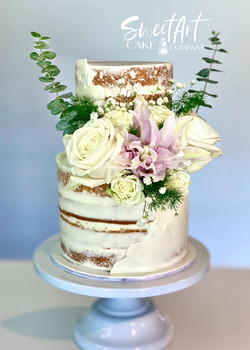 Semi Naked Wedding Cake with Fresh Florals