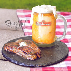 Realistic Beer and Steak Cake