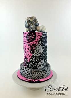 Painted Rose Cake with Silver Skull