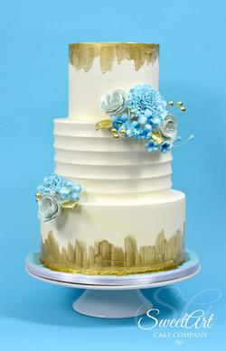 Blue and Gold Buttercream Cake