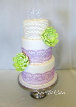 Purple Lace Wedding Cake
