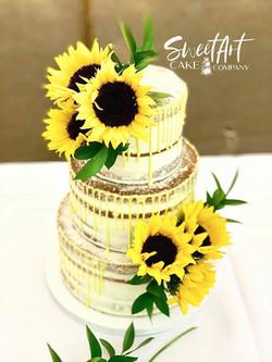 Naked Sunflower Yellow Drip Wedding Cake