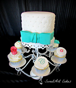 Quilted Turquoise Bow Wedding Cake