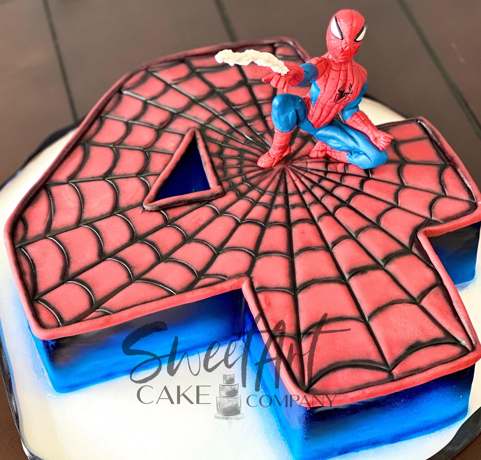 Spiderman Number 4 Cake